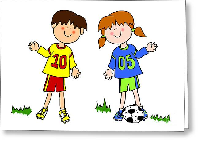 Girls Soccer Art Greeting Cards - Boy and girl cartoon soccer player Greeting Card by Sylvie Bouchard
