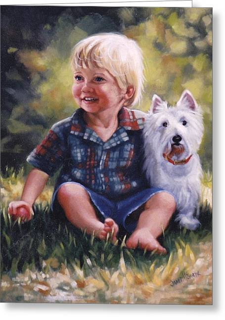 Janet Mcgrath Greeting Cards - Boy and his dog Greeting Card by Janet McGrath