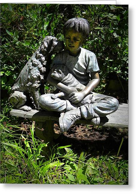 Garden Statuary Greeting Cards - Boy And His Dogs Greeting Card by Frank Wilson