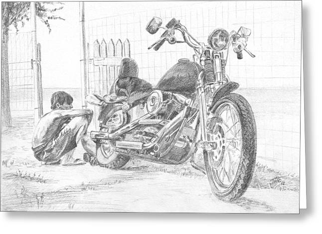 Repaired Drawings Greeting Cards - Boy And Motorcycle Greeting Card by Masha Batkova
