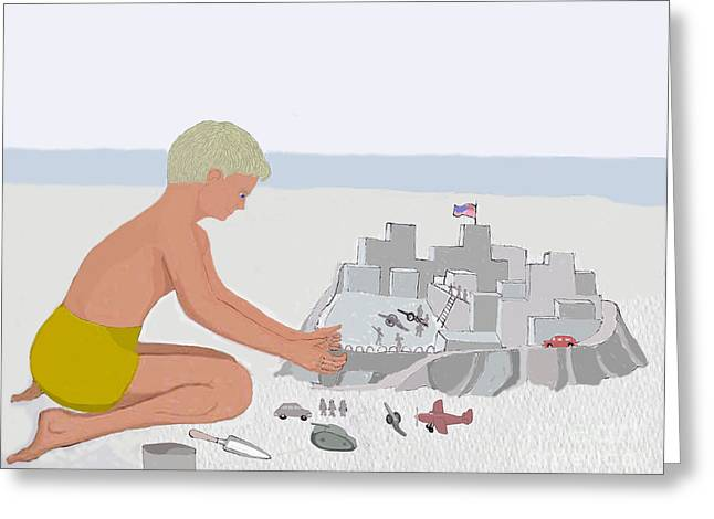 Sand Castles Greeting Cards - Boy and Sand Fort Greeting Card by Fred Jinkins