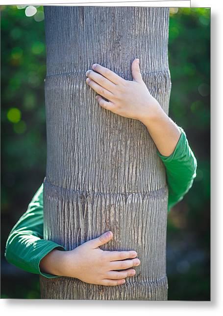 Boy And Tree Greeting Card by Desislava Panteva