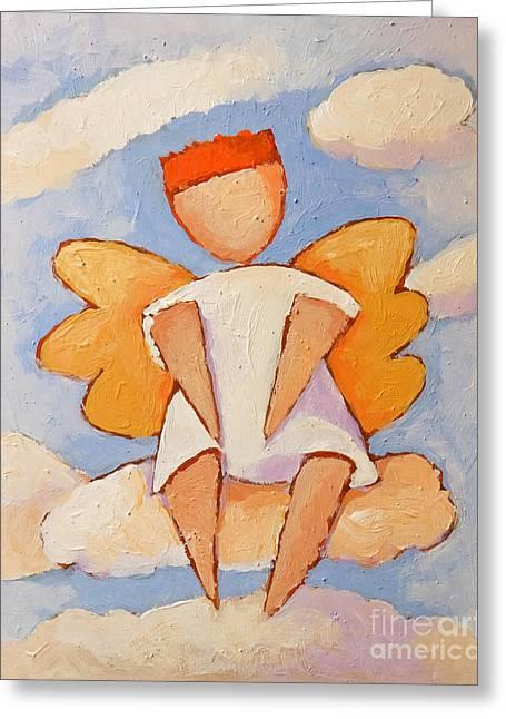 Little Boy Greeting Cards - Boy Angel Greeting Card by Lutz Baar
