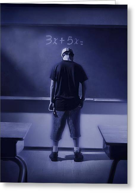Boy At Blackboard With Math Written On Greeting Card by Don Hammond