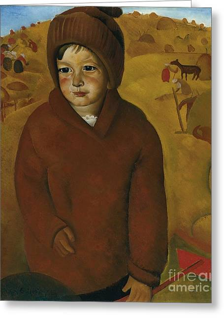 Strength Paintings Greeting Cards - Boy At Harvest Time Greeting Card by Celestial Images