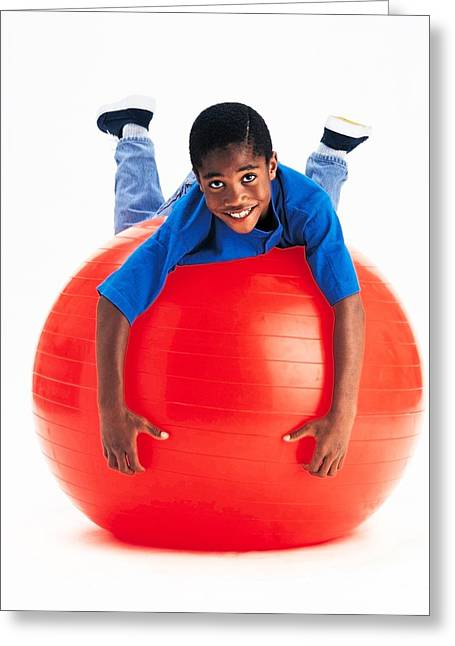 Full-length Portrait Greeting Cards - Boy Balancing On Exercise Ball Greeting Card by Ron Nickel