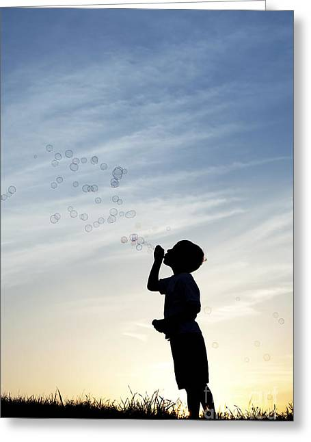 Soap Greeting Cards - Boy Blowing Bubbles Greeting Card by Tim Gainey