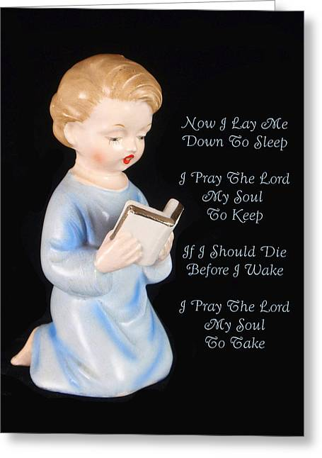Man Reading The Bible Greeting Cards - Boy Childs Bedtime Prayer Greeting Card by Kathy Clark
