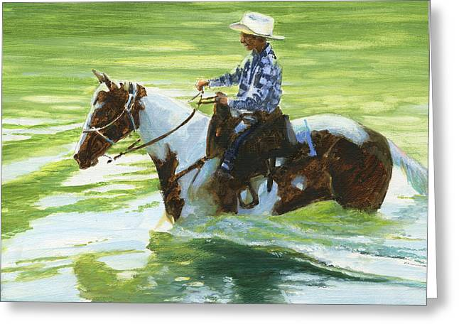 Trail Ride Greeting Cards - Boy Crossing Big Creek Greeting Card by Don  Langeneckert