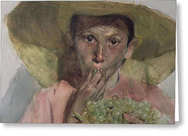 Straw Greeting Cards - Boy Eating Grapes Greeting Card by Joaquin Sorolla y Bastida