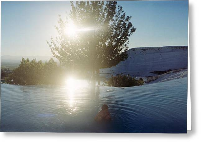 Thermal Greeting Cards - Boy Enjoying The Hot Springs Greeting Card by Panoramic Images