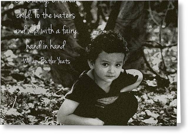 Angela Castillo Greeting Cards - Boy Fairy and Quote Greeting Card by Cherie Haines