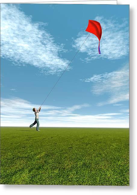 Boy Flying A Kite Greeting Card by Carol & Mike Werner