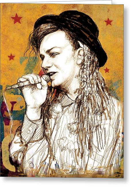 Romanticism Mixed Media Greeting Cards - Boy George - stylised drawing art poster Greeting Card by Kim Wang