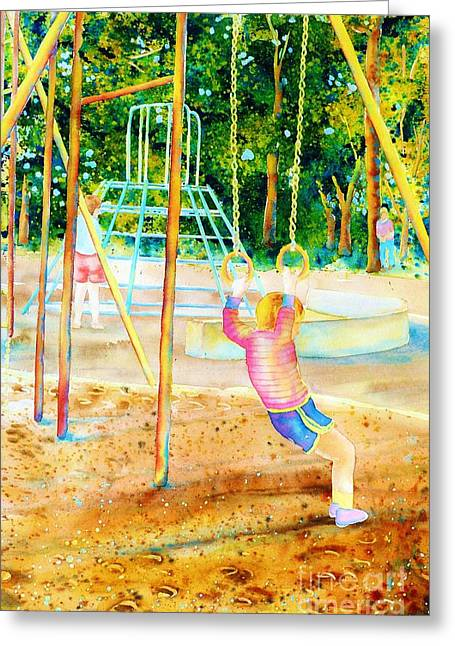 Park Scene Paintings Greeting Cards - Boy Hanging On Gymnastic Rings In Park Paintings Montreal Park Scenes Carole Spandau Greeting Card by Carole Spandau