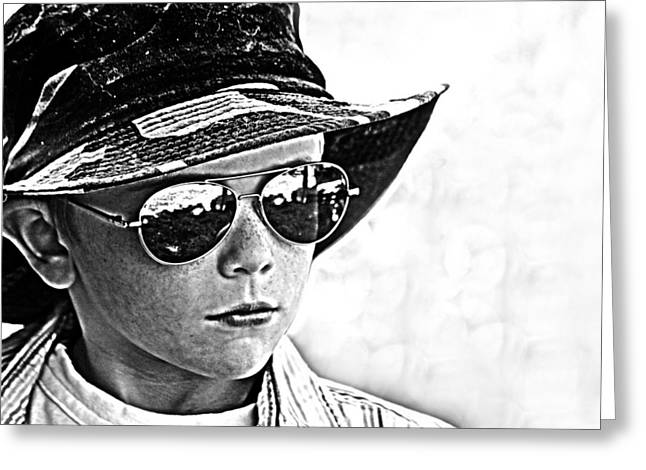 Recently Sold -  - Pastimes Greeting Cards - Boy in Aviators Greeting Card by Kelly Hazel