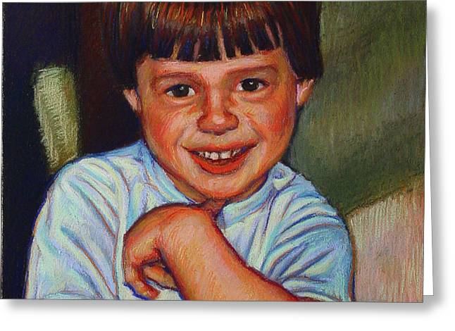 Boy in Blue Shirt Greeting Card by Kenneth Cobb