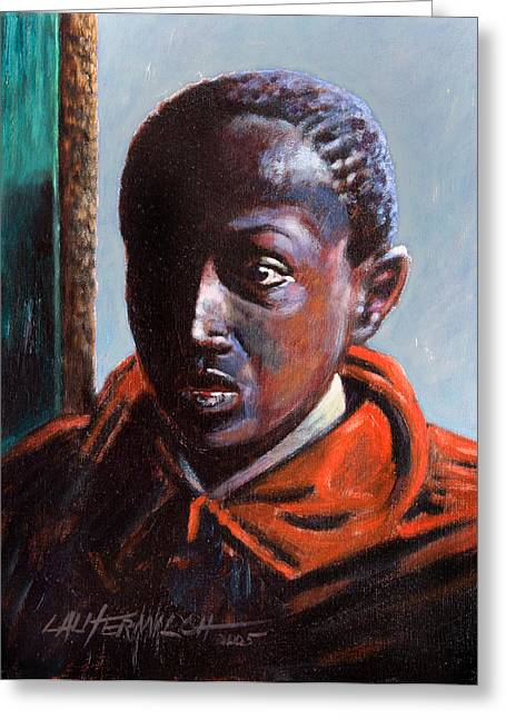 African-american Paintings Greeting Cards - Boy in Doorway Greeting Card by John Lautermilch