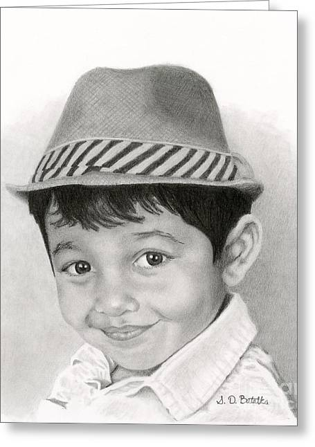 Hand Drawn Greeting Cards - Boy In Fedora Greeting Card by Sarah Batalka