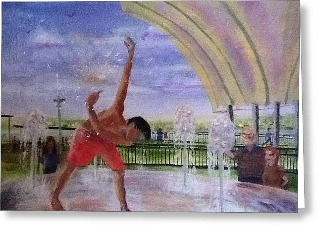 Smothers Park Greeting Cards - Boy In Founain Greeting Card by Pat OBrien