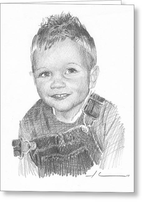 Overalls Drawings Greeting Cards - Boy In Overalls Pencil Portrait Greeting Card by Mike Theuer