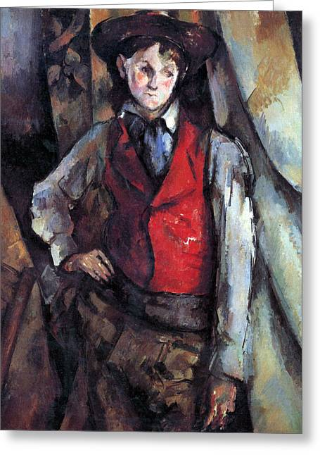 John Peter Greeting Cards - Boy in Red Waistcoat by Cezanne Greeting Card by John Peter