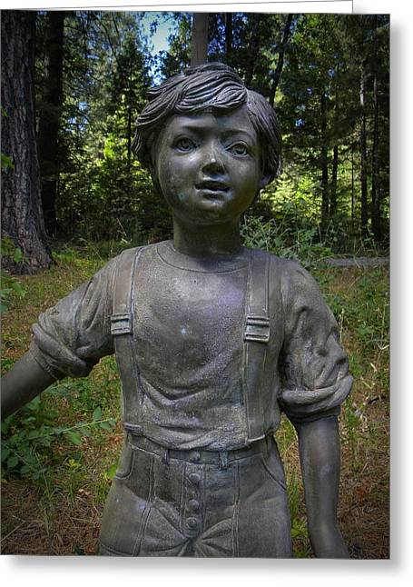 Garden Statuary Greeting Cards - Boy In The Forest Greeting Card by Frank Wilson