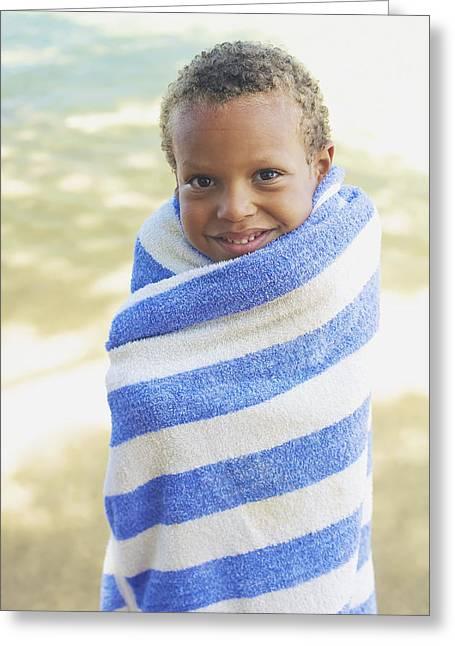 Beach Towel Greeting Cards - Boy in Towel Greeting Card by Kicka Witte