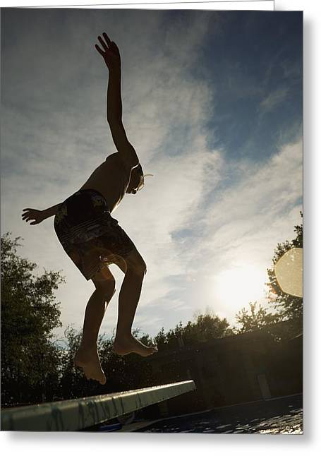Diving Board Greeting Cards - Boy Jumping Off Diving Board Greeting Card by Kelly Redinger