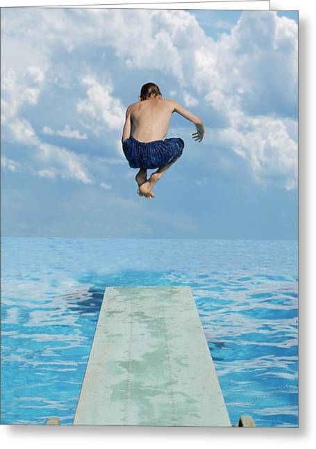 Diving Board Greeting Cards - Boy Jumps Into Water Greeting Card by Darren Greenwood