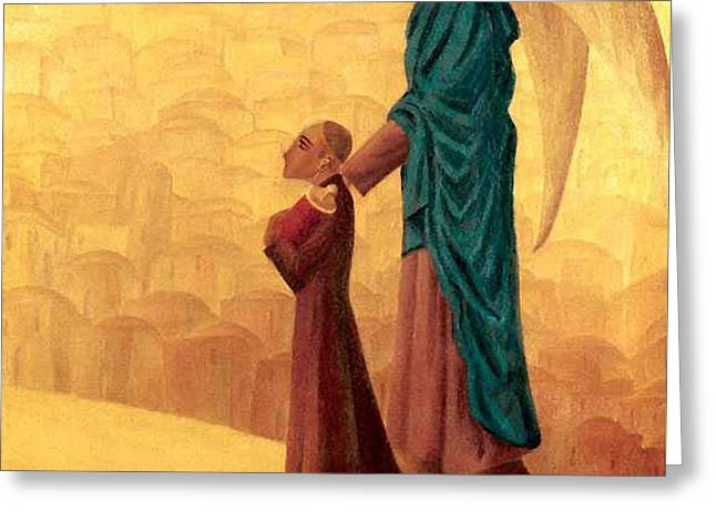 Boy Leading The Blind Angel Greeting Card by Israel Tsvaygenbaum