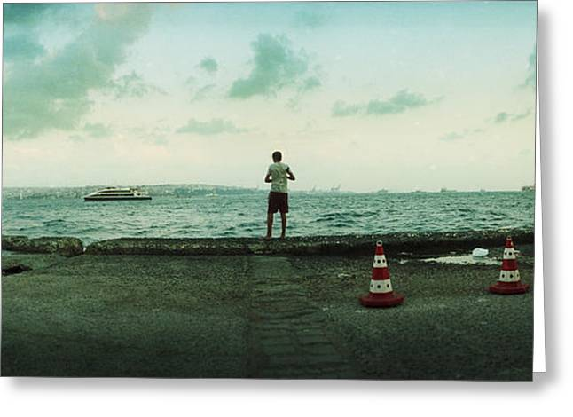 Istanbul Greeting Cards - Boy Looking Out On The Bosphorus Greeting Card by Panoramic Images