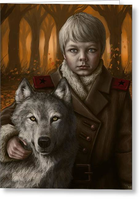 Wolves Digital Greeting Cards - Boy Greeting Card by Mark Zelmer