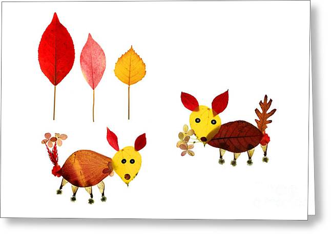 Yellow Dog Falls Greeting Cards - Boy Meets Girl Leaf Art Greeting Card by Charline Xia
