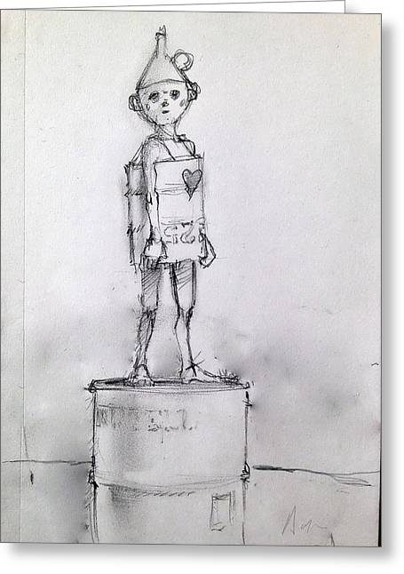 Boy Of Tin Greeting Card by H James Hoff