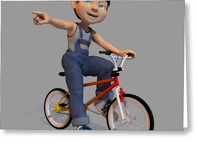 Juvenile Paintings Greeting Cards - Boy On A Bicycle Greeting Card by Victor Gladkiy