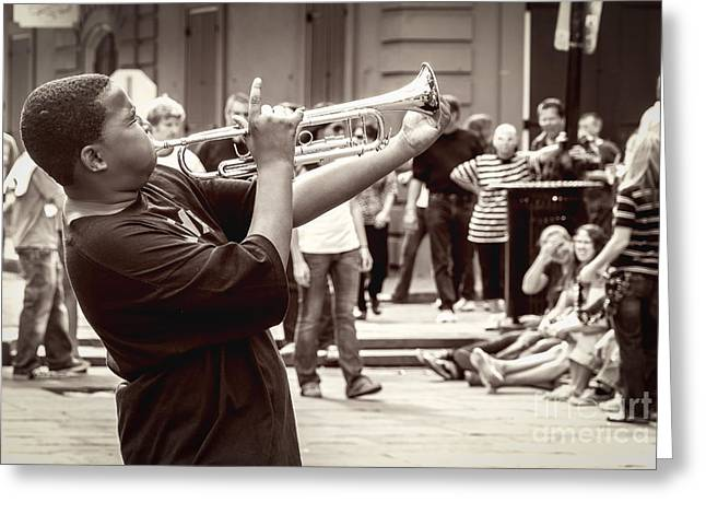 Photo Greeting Cards - Boy on a Trumpet in NOLA Greeting Card by Kathleen K Parker