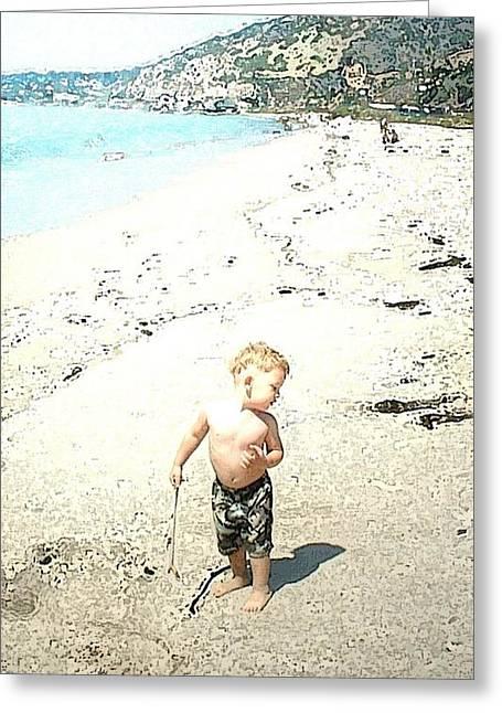 Boy Pyrography Greeting Cards - Boy on beach Greeting Card by Sam Evil