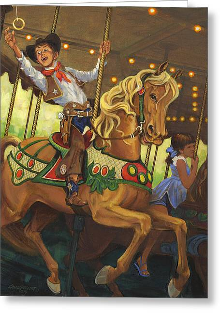 Amusement Ride Greeting Cards - Boy on Carousel Horse Greeting Card by Don  Langeneckert