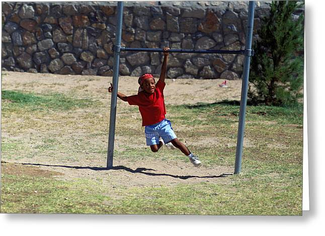 Youth Sports Bar Greeting Cards - Boy On Swing Greeting Card by Mark Goebel
