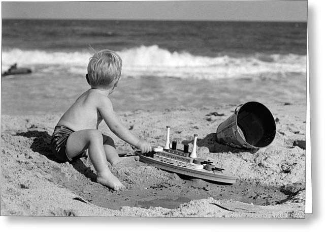 Boy Playing At The Beach, C.1950s Greeting Card by H. Armstrong Roberts/ClassicStock