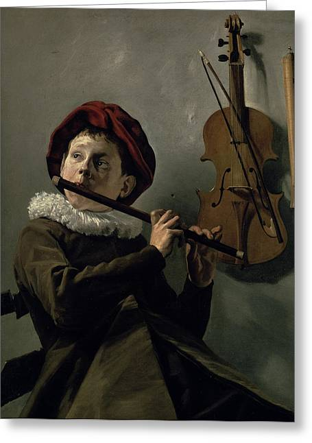 Flautist Greeting Cards - Boy Playing the Flute Greeting Card by Judith Leyster
