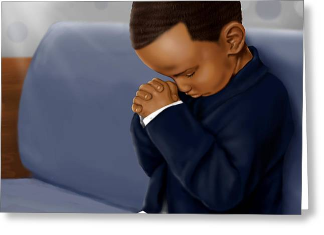 Boy Praying Greeting Cards - Boy Praying in Church Greeting Card by Josh Kennedy