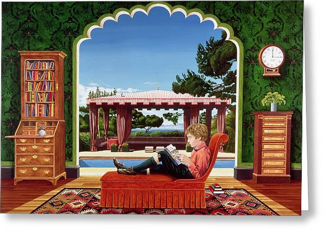 Library Greeting Cards - Boy Reading, 1983 Acrylic On Board Greeting Card by Anthony Southcombe
