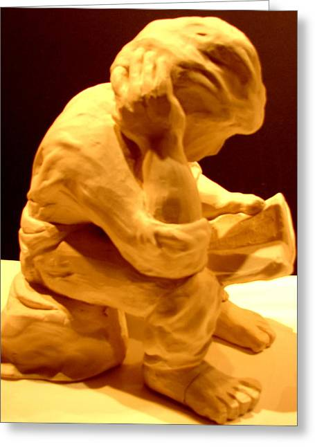 Pondering Sculptures Greeting Cards - Boy Reading The Bible Greeting Card by Joseph Hawkins