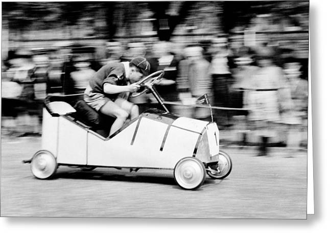 Young Boy Greeting Cards - Boy Scouts Soap Box Derby, 1955 Greeting Card by .