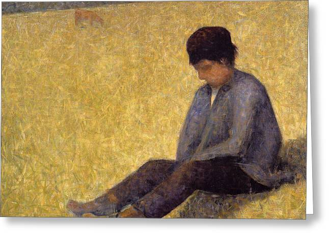 Pensive Greeting Cards - Boy Sitting On The Grass, C.1882 Oil Greeting Card by Georges Pierre Seurat