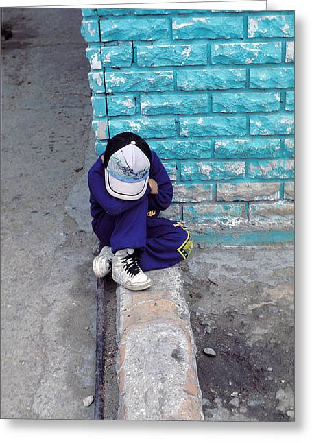 Doleful Greeting Cards - Boy Sitting On Wall Crying Greeting Card by Mark Goebel