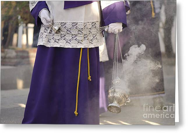 Drum Throne Greeting Cards - Boy waving the incense vase during procession Greeting Card by Perry Van Munster
