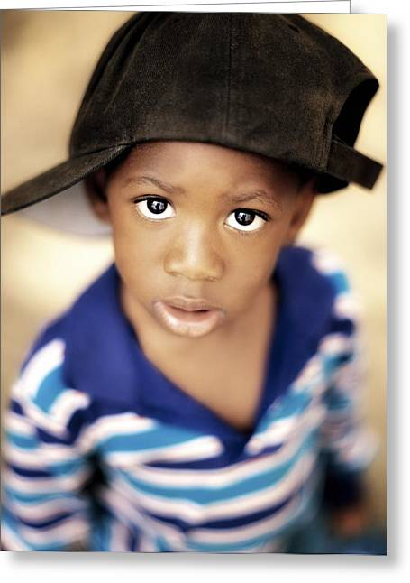 Displeased Greeting Cards - Boy Wearing Over Sized Hat Sideways Greeting Card by Ron Nickel
